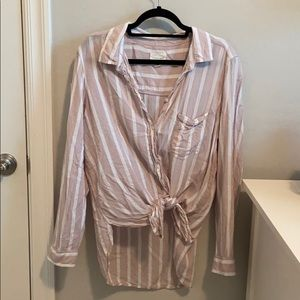 AE Long striped oversized button up with ties!